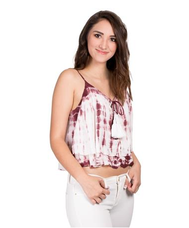 Tie Dye Chunky Tassel Lace Up Tank - Front Angle Tan/Maroon