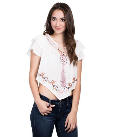 Embroidered Ruffle Off Shoulder Top - Ivory - Front Ivory
