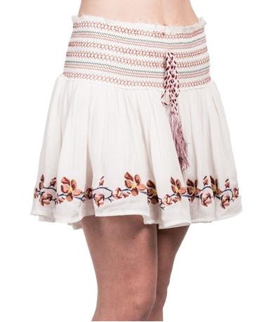 Embroidered Mini Skirt - Front Angle Ivory