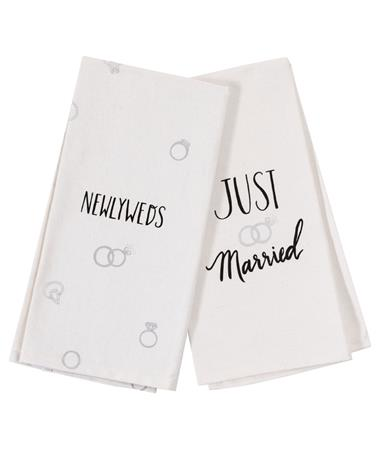 Just Married/Newlyweds Tea Towels White