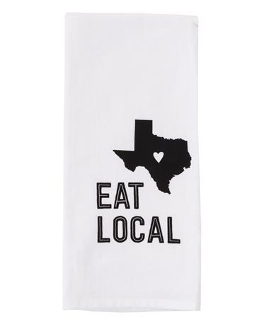 Eat Local Texas Tea Towel - White/Grey White/Grey