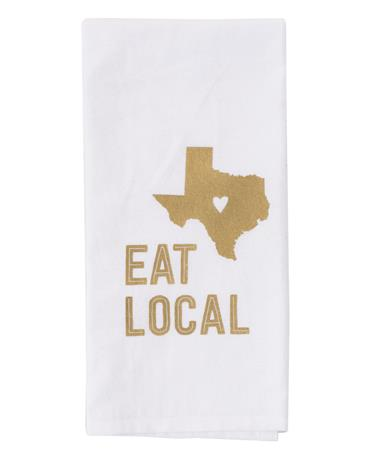 Eat Local Texas Tea Towel - White/Maroon White/Maroon