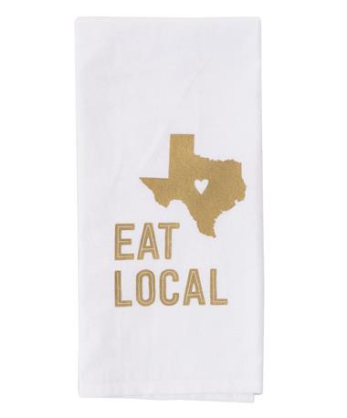 Eat Local Texas Tea Towel - White/Maroon White/Maroon