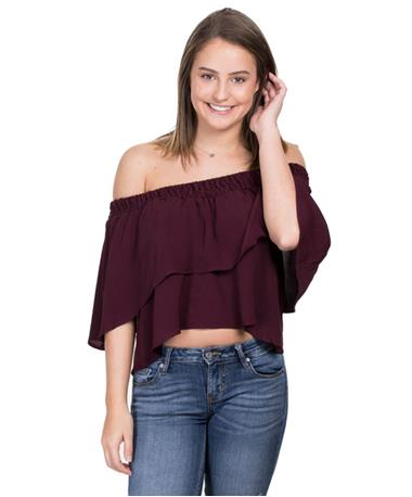 Off The Shoulder Gameday Top - Burgundy - Front Burgundy