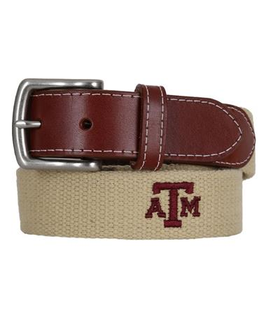Peter Millar Texas A&M Embroidered Belt - Khaki Khaki