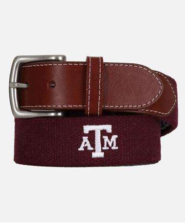 Peter Millar Texas A&M Embroidered Belt - Maroon Maroon