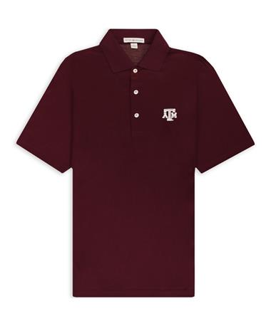 Texas A&M Peter Millar Solid Maroon Lisle Polo