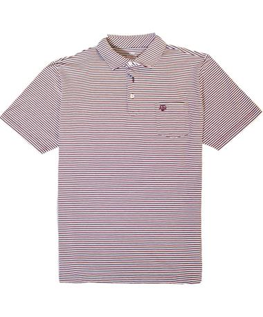Peter Millar Texas A&M Stripe Polo - Front Maroon/White