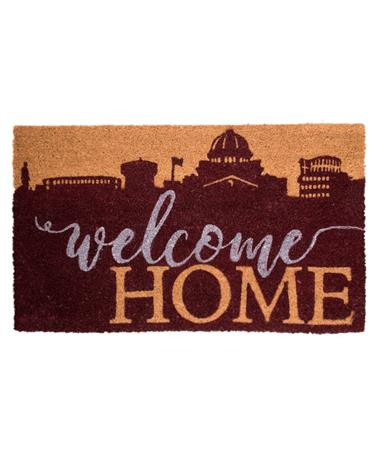 Welcome Home College Station Skyline Doormat Maroon Skyline