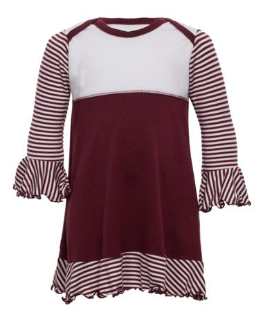 Maroon & White Infant Overlap Flounce Dress Maroon/White