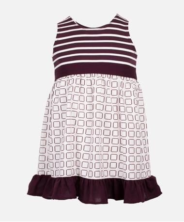 Sleeveless Maroon & White Striped Square Pattern Dress - Front Maroon