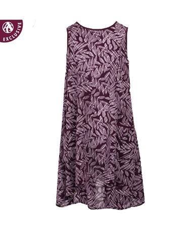 Maroon Sleeveless Printed Pocket Dress - Front Maroon