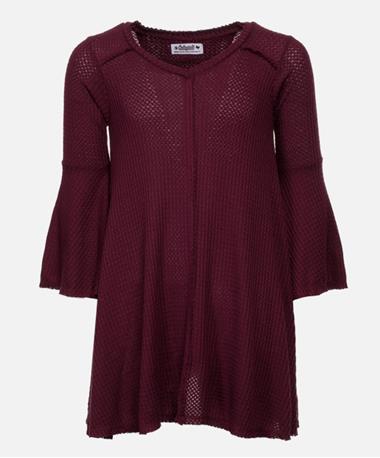 Maroon Bell Sleeve Waffle Flounce Dress - Front Maroon