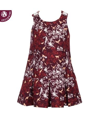 Maroon Toddler Pleated Dress with Button Snaps Maroon Pattern