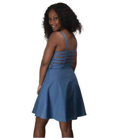Adriana Woven Dress-Back Chambray