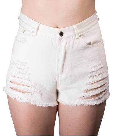 Jala Denim Shorts-front White