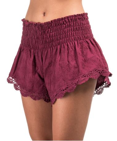 Garland Woven Shorts - side Berry