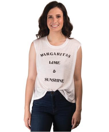 Margaritas Lime & Sunshine Tank- Front Ivory