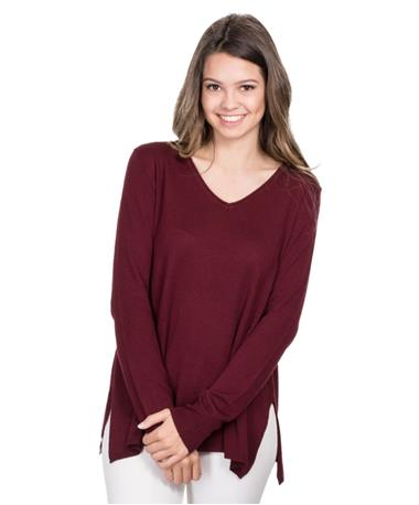 Colbie Knit Sweater - Maroon - Front Maroon
