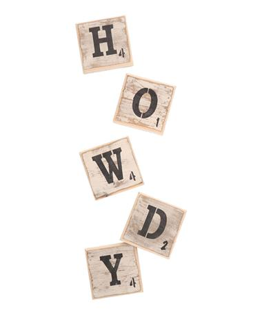 Scrabble Letters Symbols Wall Tile HOWDY Multi