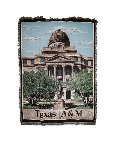 Texas A&M Academic Building Tapestry Throw - Front Maroon