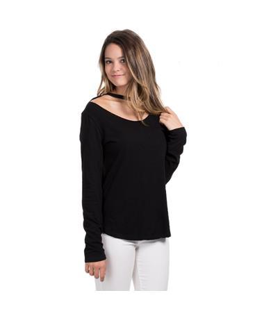 Slub Jersey with Choker Neckline - Angled Black