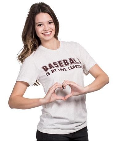 Baseball Is My Love Language Short Sleeve T-Shirt Oatmeal
