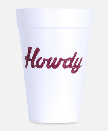 16oz Howdy Foam Cups Maroon