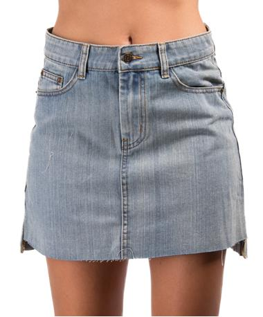 Sadie & Sage Denim Hi-Lo Mini Skirt Light Denim