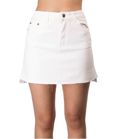 Sadie & Sage Denim Hi-Lo Mini Skirt Front White