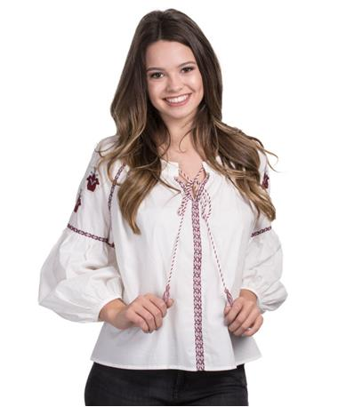 Embroidered Sleeve Tassel Top - Ivory/Maroon - Front Ivory/Maroon