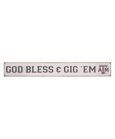 Texas A&M God Bless & Gig `Em Barn Board Front White