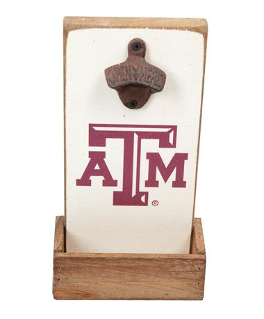 Texas A&M Aggie Rustic Bottle Opener White