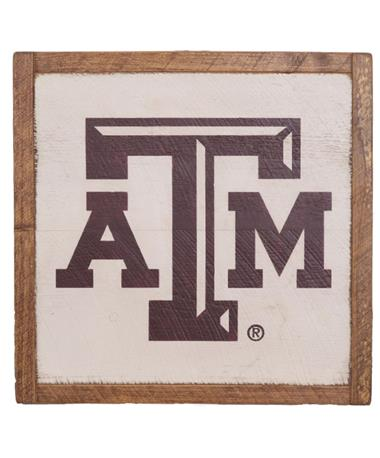 Texas A&M Aggie Rustic Wall Art - Front White