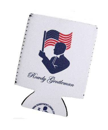 Toasting The Flag Beer Sleeve Koozie White