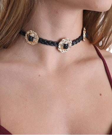 Concho Choker Necklace Black
