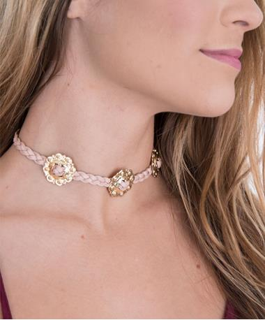 Concho Choker Necklace Pink