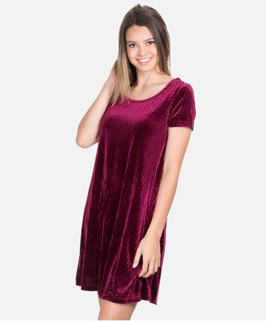 Maroon Knit Stripe Velvet Short Sleeve Dress - Front Wine