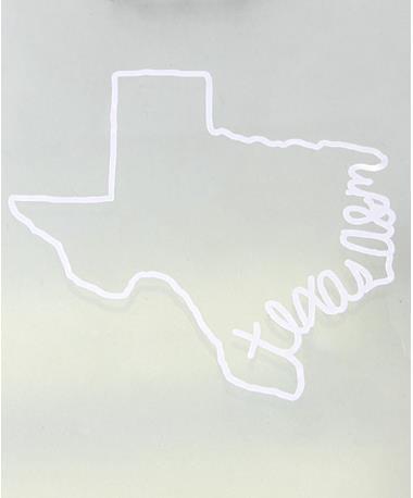 Texas A&M Aggie Written State Car Decal White