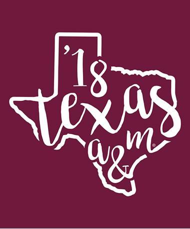 Texas A&M Aggie Curly Print `18 Decal White