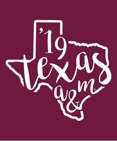 Texas A&M Aggie Curly Print `19 Decal White