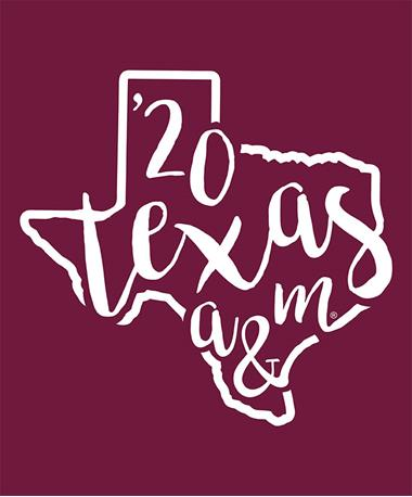 Texas A&M Aggie Curly Print `20 Decal White