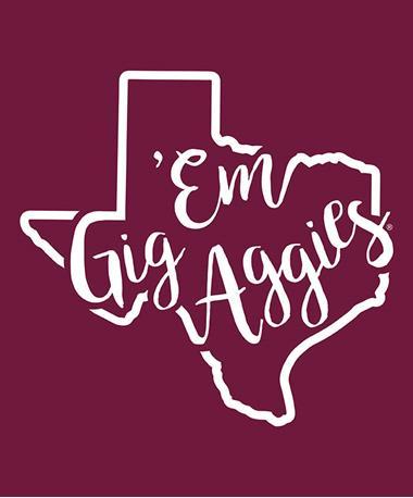 Texas A&M Aggie Gig Em Curly Print Decal White