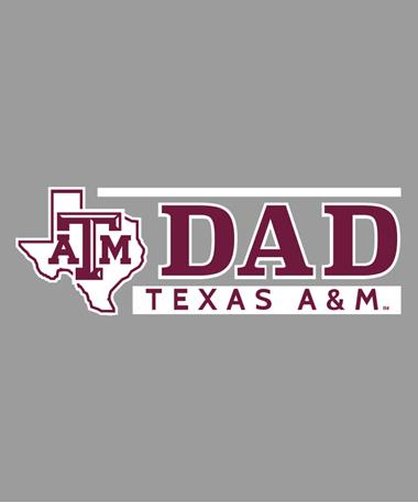 Texas A&M Aggie Lonestar Dad Car Decal White