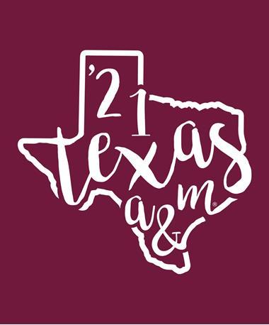 Texas A&M Class of 2021 Texas Decal White