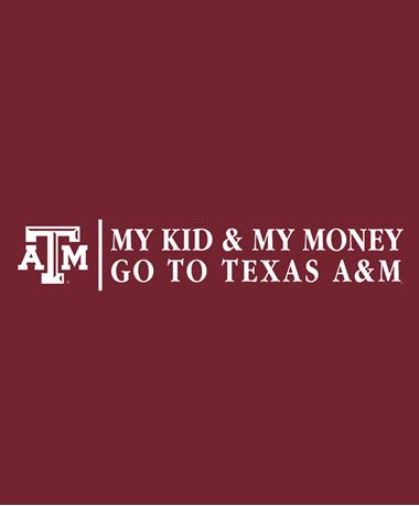 Texas A&M Aggie My Kid My Money Decal White