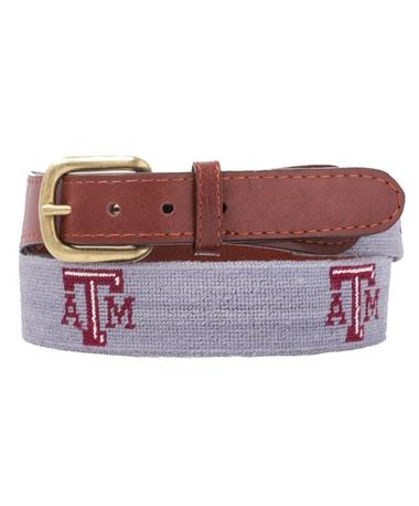Smathers & Branson Texas A&M Stitched Belt - Grey Grey