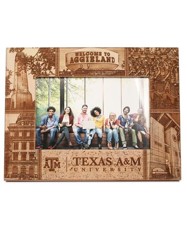 Texas A&M Collage Alderwood Frame - Front Brown