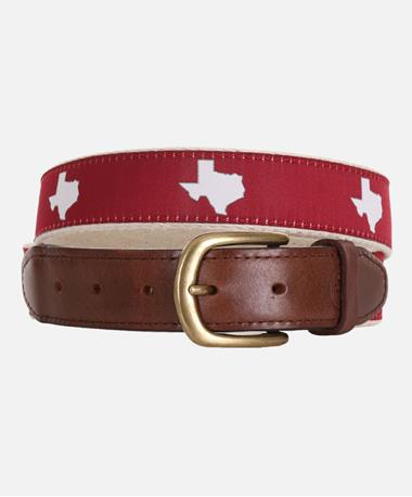 State Traditions Texas Ribbon Belt Maroon