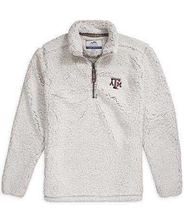 Texas A&M Quarter Zip Sherpa Pullover White